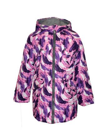 Куртка удлиненная детская демисезонная (девочки) КМ-003 (Принт)